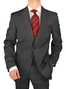 Gino Valentino - Peak Lapel Ticket Pocket Jacket Chalk Stripe Suit