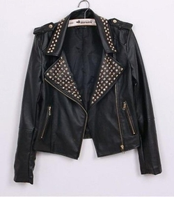 Fengbay - Punk Spike Studded Shoulder Motorcycle Jacket