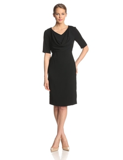 Anne Klein - Short-Sleeve Cowl-Neck Sheath Dress