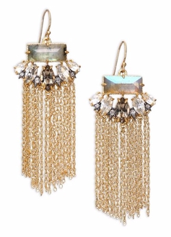 Alexis Bittar  - Labradorite & Crystal Fringe Drop Earrings