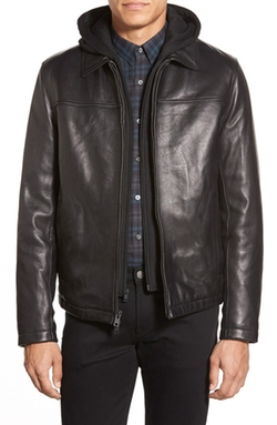 Vince Camuto - 3-In-1 Hoodie Leather Jacket
