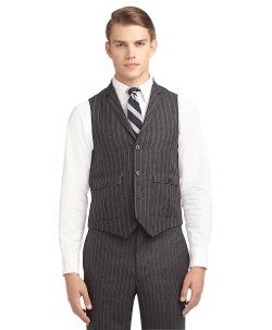 Brooks Brothers - Wool And Mohair Chalk Stripe Vest