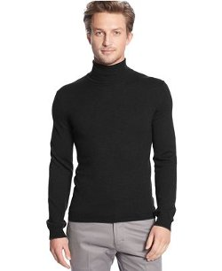 Calvin Klein  - Solid Tipped Merino Wool Turtleneck Sweater