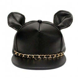 Jewel Factory - Cute Ears Chained Leather Cap