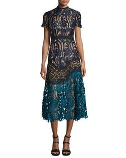Self Portrait  - Floral-Lace Prairie Midi Dress