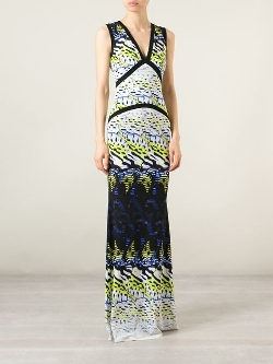 Roberto Cavalli - V-Neck Printed Maxi Dress