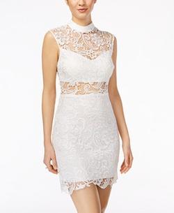 B Darlin - Mock-Neck Illusion-Lace Bodycon Dress