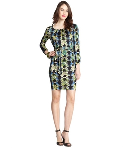M. Missoni - Black Multi-Color Floral Print Stretch Three-Quarter Sleeve Dress