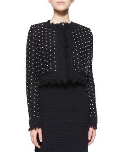 Oscar De La Renta   - Dotted Tulle Fringe Tweed Jacket