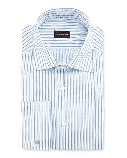 Ermenegildo Zegna -  Alternating Stripe French-Cuff Shirt
