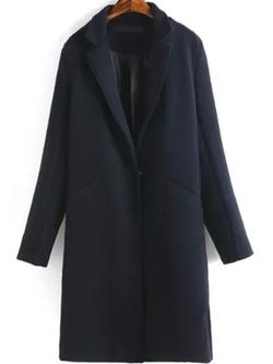 Romwe - Single Button Pockets Long Coat