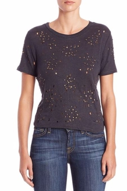 Alice and Olivia  - Distressed & Beaded Linen Cropped Top