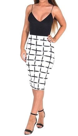 Vip  - Janey White Check Print Textured Midi Skirt