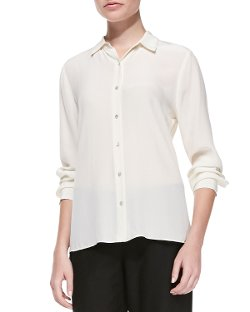 Eileen Fisher   - Long-Sleeve Silk Button-Front Blouse
