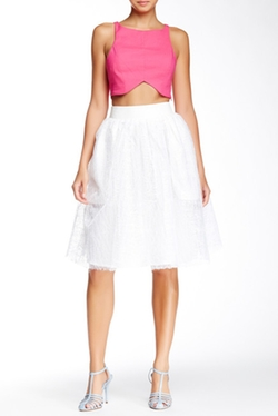 Tov - Faux Leather Waist Tulle Skirt