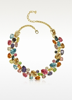 Forzieri  - Multicolor Crystal and Metal Necklace