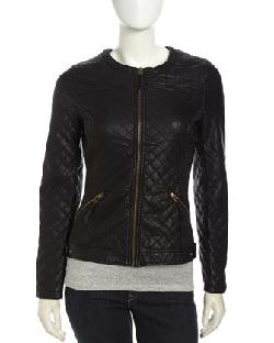 Love Token  - Quilted Faux-Leather Zip Jacket