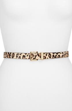 MICHAEL Michael Kors  - Reversible Leather & Calf Hair Belt