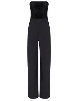 Galvan - Strapless Velvet Jumpsuit