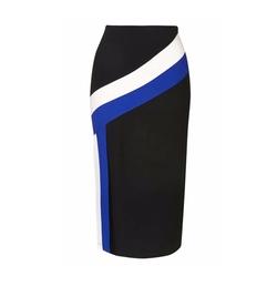 Topshop - Colorblock Stripe Split Midi Skirt