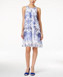 Alfani - Printed Chiffon Trapeze Dress