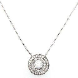 Beaux Bijoux  - Sterling Silver CZ Circle Necklace