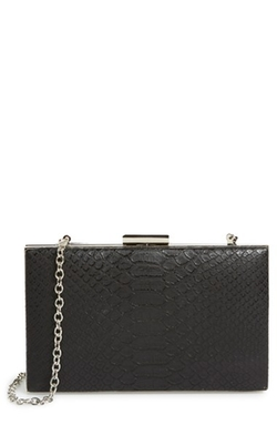 Sondra Roberts - Snake Embossed Box Clutch Bag