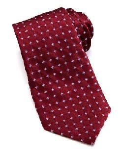 Valentino  - Woven Medallion Silk Tie, Burgundy