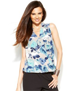INC International Concepts  - Sleeveless Floral-Print Surplice Blouse