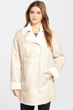 Kenneth Cole New York - Asymmetrical Zip Faux Shearling Coat