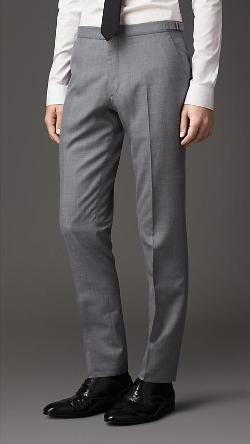 Burberry - Slim Fit Wool Blend Trousers