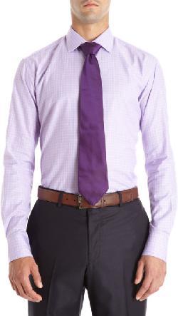 BARNEYS NEW YORK - Trim Fit Check Dress Shirt