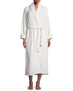Natori - Solid Faux-Fur Trim Long Robe