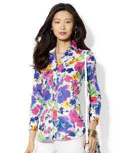 Lauren Ralph Lauren  - Three-Quarter-Sleeve Floral-Print Blouse