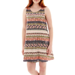 Olsenboye - Sleeveless Aztec Print Slip Dress