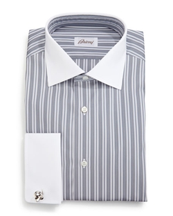Brioni - Contrast-Collar Multi-Stripe Dress Shirt