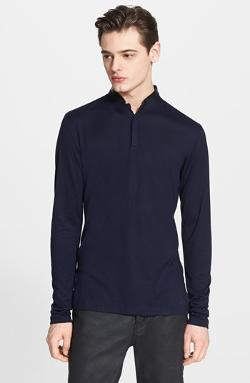 The Kooples  - Jersey Henley with Leather Band Collar