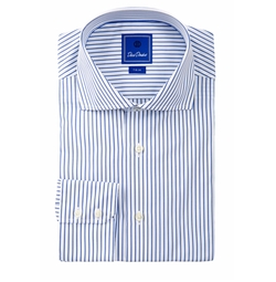 David Donahue - Striped Long Sleeve Trim Fit Shirt