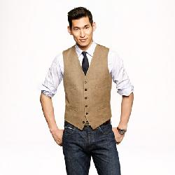 J. Crew - Ludlow Vest In Glen Plaid Italian Linen-silk