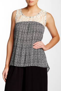 Bobeau - Print Lace Yoke Tank Top