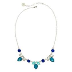 Liz Claiborne - Blue Stones Silver-Tone Collar Necklace