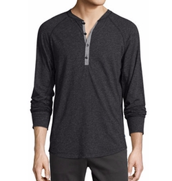 The Good Man Brand  - Contrast-Placket Slub Henley T-Shirt