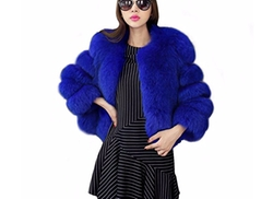 Fhillinuo  - Faux Fur Patch Work Coat