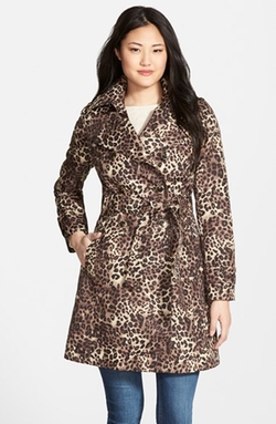 Via Spiga - Animal Print Double Breasted Trench Coat