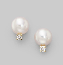 Mikimoto  - Cultured Pearl Diamond & Yellow Gold Earrings