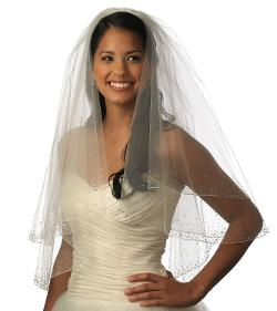 USABride  - Wedding Bridal Veil, 1 Layer Crystal Beaded Elbow