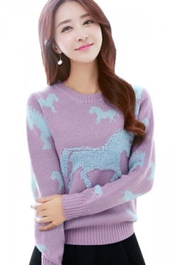 Pink Queen - Horse Patterned Pullover Sweater
