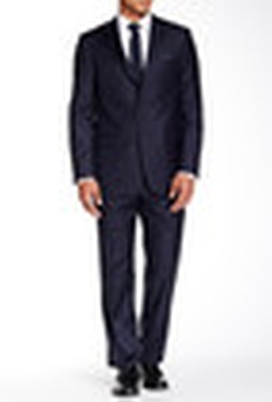 Hickey Freeman - Pinstripe Two Button Notch Lapel Wool Suit