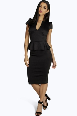 Boohoo - Slit Neck Peplum Midi Dress