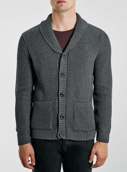 Topman - Charcoal Shawl Cardigan